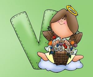 Układanka Litera V z aniołem