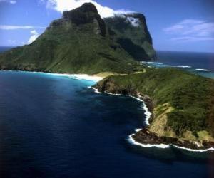 Układanka Lord Howe Wyspy archipelagu jest przykład tworzenia zbioru izolowanych wysp oceanicznych przez podmorski aktywności wulkanicznej. Australia.