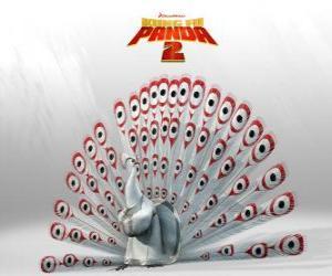 Układanka Lord Shen, albino peacock jest głównym wrogiem w przygodach z filmu Kung Fu Panda 2