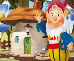 Układanka Mądry Wielkouchy, brodaty gnom, który mieszka w domu muchomor