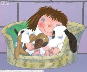 Układanka Mała księżniczka z jej pluszowego misia i jego kark psa