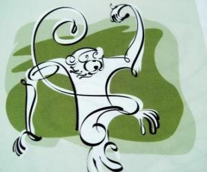 Układanka Małpa, znak Monkey, Monkey roku w chińskiej astrologii. Dziewiąty z dwunastu zwierząt 12-letni cykl chińskiego zodiaku