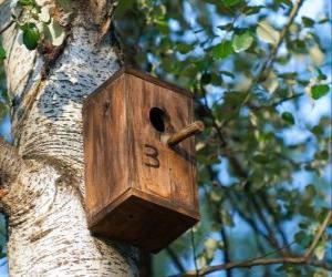 Układanka Mały dom drewna ptaków, które w okresie wiosennym