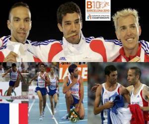 Układanka Mahiedine Mekhissi-Benabbes 3000 mz przeszkodami mistrz m, Bouabdellah Tahri i Jose Luis Blanco (2 i 3) z Barcelona Mistrzostwa Europy w Lekkoatletyce 2010