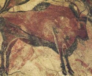 Układanka Malarstwo Cave stanowi bawole na ścianie jaskini