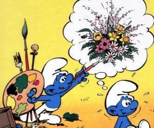 Układanka Malarz Smurf malowane myśli innego Smurf