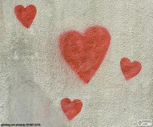 Układanka Malowane czerwone serca