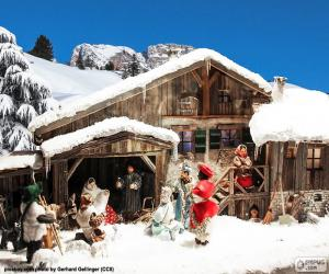 Układanka Manger ze śniegu