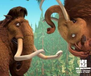 Układanka Manny i Ellie, dwa mamuts w miłości