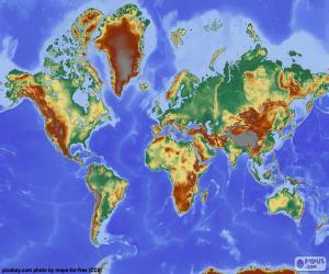 Układanka Mapa świata z ulgą głębokość
