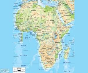 Układanka Mapa Afryki. Kontynencie afrykańskim znajduje się między Atlantykiem i indyjskim. Graniczy także Morzem Śródziemnym i Morzem Czerwonym