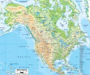 Układanka Mapa Ameryki Północnej. Ameryka Północna, obejmująca kraje z Kanady, Stanów Zjednoczonych i Meksyku
