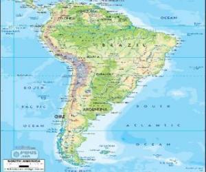 Układanka Mapa Ameryki Południowej jest również za subkontynent Ameryki