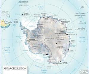 Układanka Mapa Antarktydy. Biegun południowy znajduje się na kontynent Antarktydy
