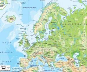 Układanka Mapa Europy. Kontynencie europejskim rozciąga się przez Rosję do Uralu