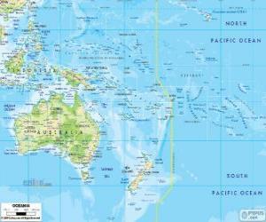 Układanka Mapa Oceanii. Kontynent utworzone przez Australia i inne wyspy i archipelagi Oceanu Spokojnego