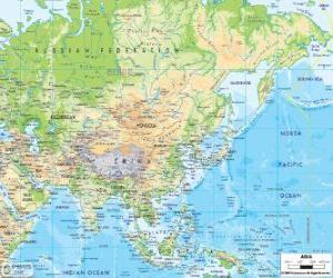 Układanka Mapa Rosji i Azji. Kontynencie azjatyckim jest największym i najbardziej zaludnione ziemi