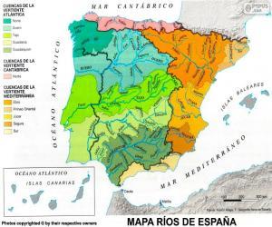 Układanka Mapa rzek w Hiszpanii