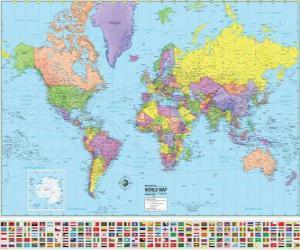Układanka Mapa z granicami krajów świata