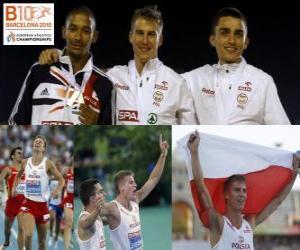 Układanka Marcin Lewadowski 800 m mistrz, Michael Rimmer i Adam Kszczot (2 i 3) z Barcelona Mistrzostwa Europy w Lekkoatletyce 2010