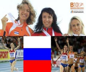 Układanka Maria Savinov mistrzem na 800 m, Yvonne Hak i Jennifer Meadows (2 i 3) z Barcelona Mistrzostwa Europy w Lekkoatletyce 2010