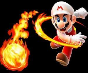 Układanka Mario rzucanie kula ognia