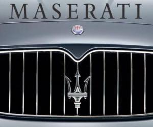 Układanka Maserati logo, włoski sportowy samochód marki