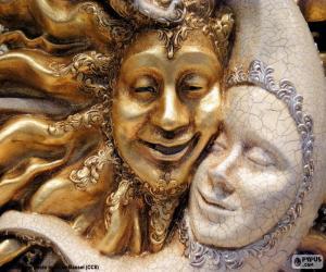 Układanka Maski słońca i Księżyca