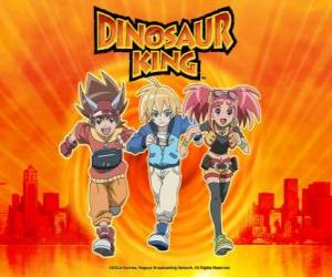 Układanka Max, Rex i Zoe, eksperci na dinozaury i bohaterów z serii Dinosaur King