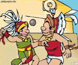 Układanka Mecz był rytuał Majów, gracze walczą o piłkę przez pierścień z kamienia