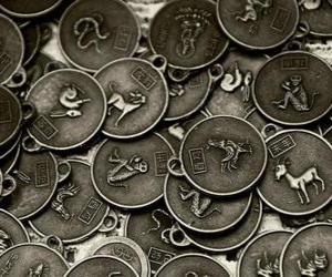 Układanka Medale z objawami Zodiak chiński