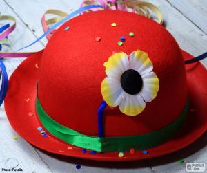 Układanka Melonik czerwony kapelusz z kwiatem