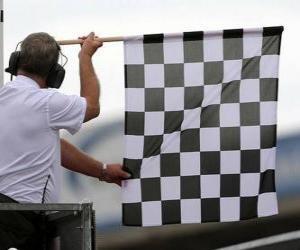 Układanka Mety, ta flaga jest pokazane na koniec wyścigu