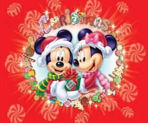 Układanka Miki i Minnie Mouse wraped się w ciepłych, Santa Claus kapelusze