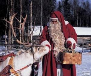Układanka Mikołaj daje paszy reniferów