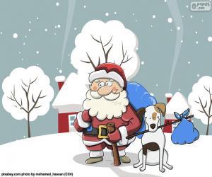 Układanka Mikołaj w towarzystwie psa