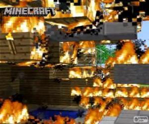 Układanka Minecraft ognia