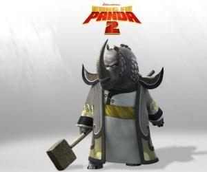 Układanka Mistrz Grzmiący Nosorożec jest najbardziej czczonych wszystkich mistrzów Kung Fu Rady