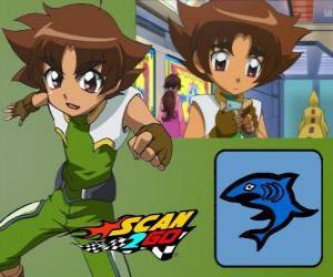 Układanka Mitsuki Kaibara z Scan2Go, moc rekina daje mu wielki chłód, a także znęcanie się w czasie konkursu