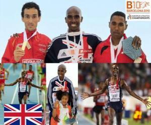 Układanka Mo Farah 5000m mistrz, Jezus Hiszpanii i Hayle Ibrahimov (2 i 3) z Barcelona Mistrzostwa Europy w Lekkoatletyce 2010
