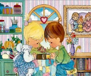 Układanka Modląc się chłopak i dziewczyna. Precious Moments