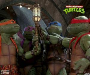 Układanka Mutant Żółwie Ninja, kanałami