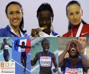 Układanka Myriam Soumaré mistrzem na 200 m, i Alexandra Bryzhina Yelizabeta Fedora (2 i 3) z Barcelona Mistrzostwa Europy w Lekkoatletyce 2010