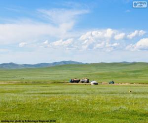Układanka Na stepach Mongolii