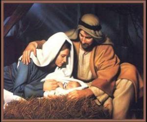Układanka Narodziny Jezusa - Dzieciątko Jezus z Matką Jego, Maryją i jego ojca Józefa