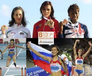 Układanka Natalia Antiuj mistrz 400m przez płotki, Vania Stambolova i Shakes-Drayton Perri (2 i 3) z Barcelona Mistrzostwa Europy w Lekkoatletyce 2010