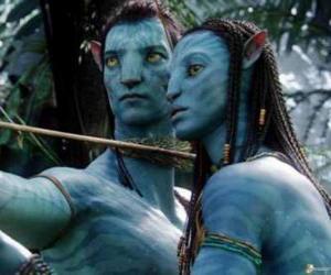 Układanka Na'vi avatar Jake i Neytiri gotowa do rozpoczęcia arrow