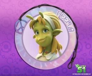 Układanka Neera jest typowa dziewczyna, inteligentny, piękny, zielony skórę atrakcyjne anteny na czole