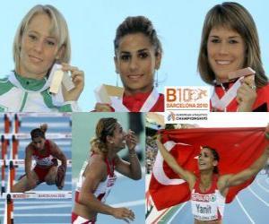 Układanka Nevin Yanit mistrzem 100 m przez płotki, Derval O'Rourke i Carolin Nytra (2 i 3) z Barcelona Mistrzostwa Europy w Lekkoatletyce 2010