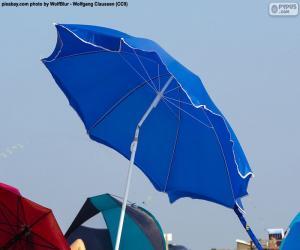 Układanka Niebieski parasol plaża